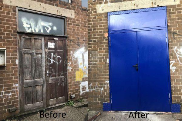 Steel Door Before and after